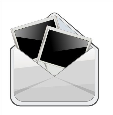 instant message: Open envelope with photo frame  Vector illustration  Illustration