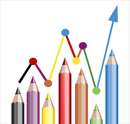 Business graph illustrating growth made up of colored pencils Stock Vector - 25155896