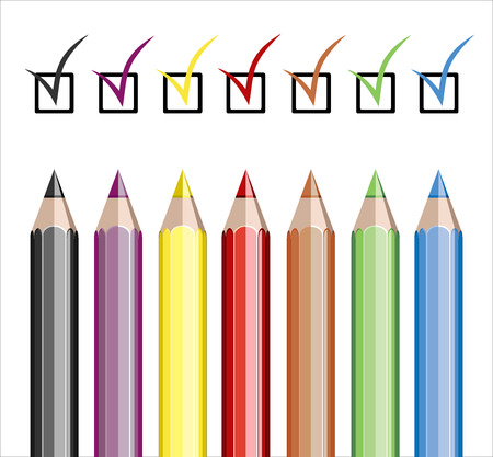 Assortment of colored pencils on white  Stock Vector - 25155898