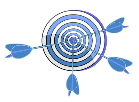 targeted: target and arrows, isolated on white Illustration