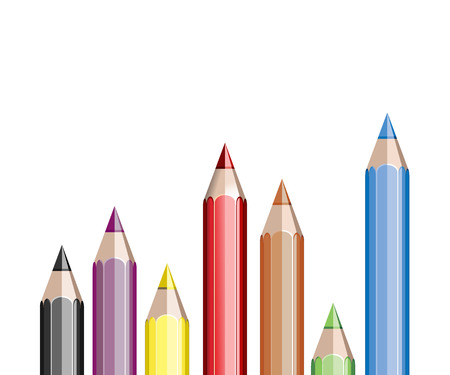 Assortment of colored pencils on white Stock Vector - 25155902