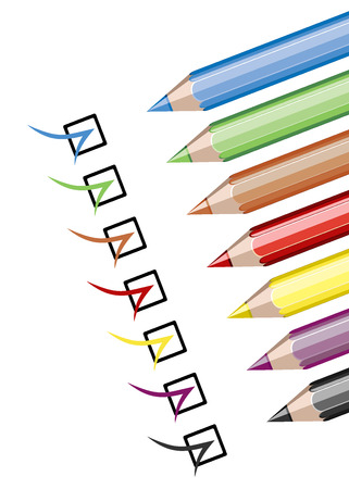Assortment of coloured pencils on white Stock Vector - 25155905