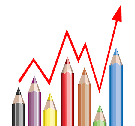 Business graph illustrating growth made up of colored pencils and red line Stock Vector - 25155909