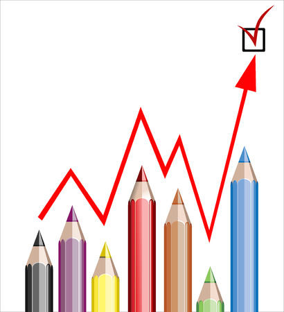 Business graph illustrating growth made up of colored pencils and red line Stock Vector - 25155917