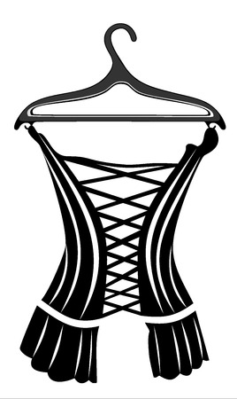 woman s black top on a hanger isolated on white Vektorové ilustrace