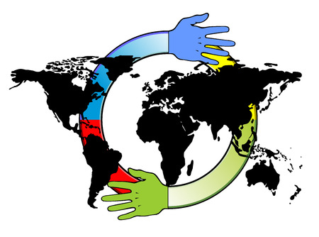 formal signature: handshake in front of world map