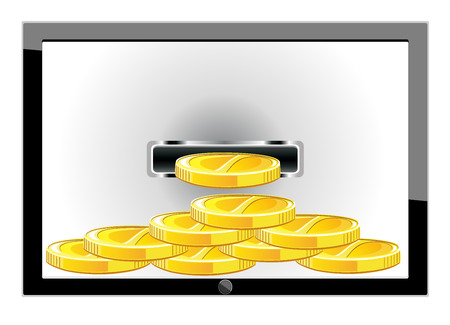 PC tablet with stacks of golden coins Stock Vector - 25156124