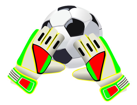 Soccer goalkeeper gloves and a ball Illustration