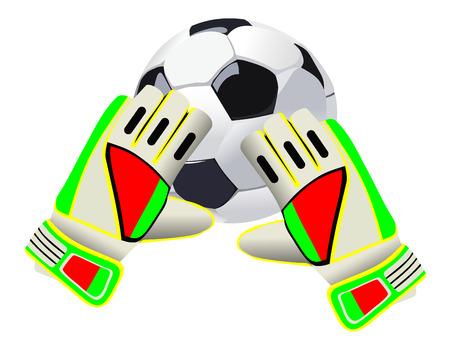 Voetbal doelman handschoenen en een bal