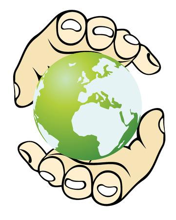 paix monde: Mains et le globe de la notion de la paix mondiale