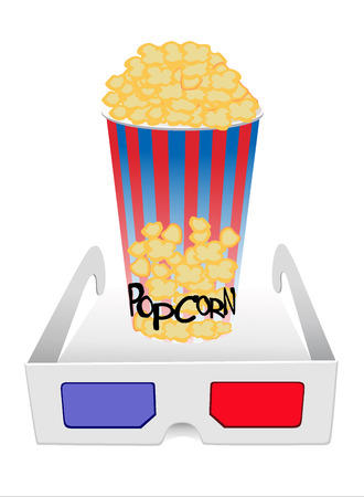 illustration of cinema with 3D glasses and popcorn Vector