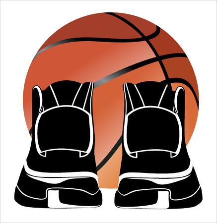 chaussure sport: Chaussure de sport avec un ballon de basket