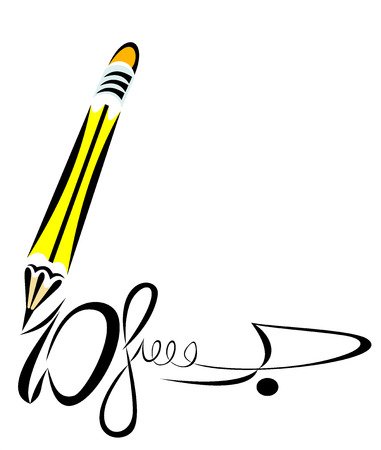 pencil and signature Stock Vector - 25156347