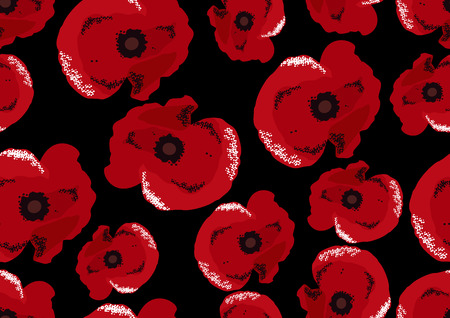 Seamless pattern with decorative poppy flowers Vector