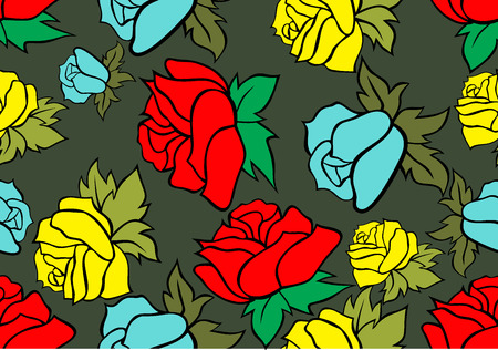Seamless retro background with roses Vector