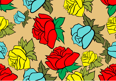 gently blue: Seamless retro background with roses