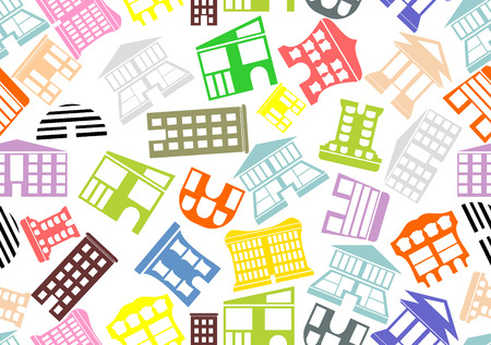 facade and house: Seamless pattern with houses