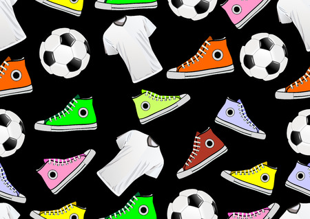 Seamless Pattern with multicolor sneakers and ball Vector