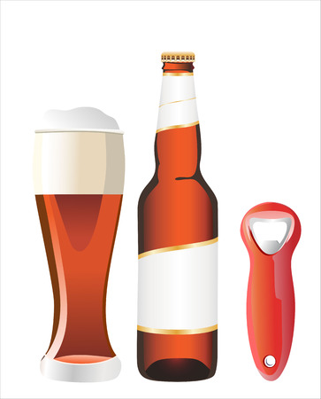 bottle opener: beer bottle with bottle opener Illustration