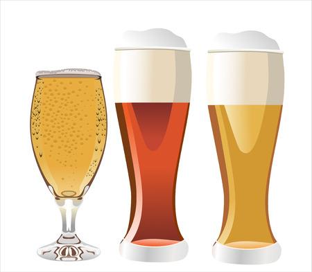 vasos de cerveza: Tres vasos de cerveza