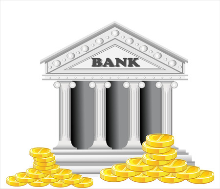 bank building: bank building surrounded by large gold coins Illustration