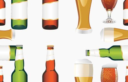 tipple: beer bottles white light beer mug seamless pattern