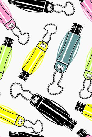 usb drive: illustration of colorful usb drive, seamless pattern Illustration
