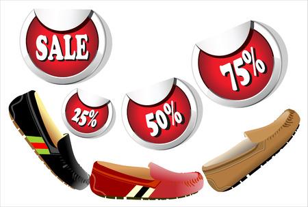 suede: Three suede men shoes  sale 25 ,50 ,75  Illustration