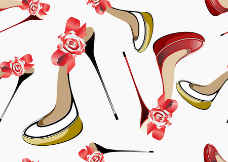 high detail: Seamless pattern with female shoes