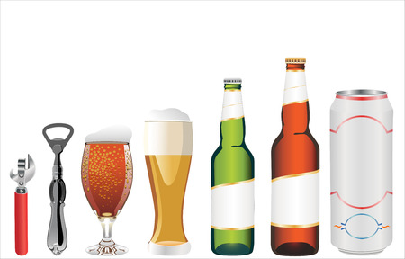 set of beer isolated on white background Bottle of beer,glass,opener,c an of beer Illustration