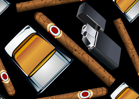cigarette lighter: Cigarrillo cigarro y una copa de papel tapiz sin fisuras-whisky m�s ligero