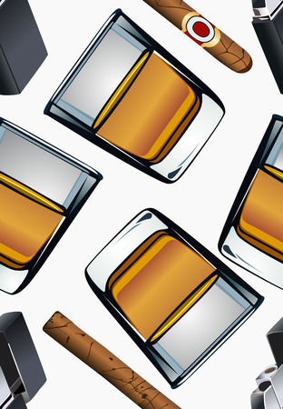 scotch whisky: Cigarette lighter cigar and glass of whiskey-seamless wallpaper