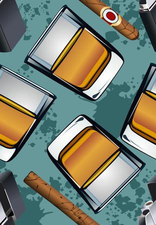 bourbon whisky: Cigarette lighter cigar and glass of whiskey-seamless wallpaper