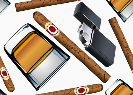 Cigarette lighter cigar and glass of whiskey-seamless wallpaper  Vector