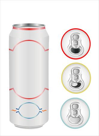 aluminium can on white, top view Ilustração
