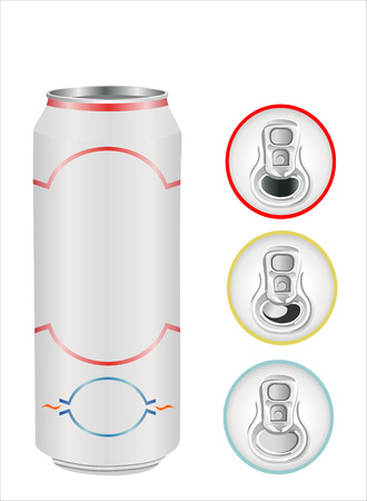 aluminium can on white, top view Illustration