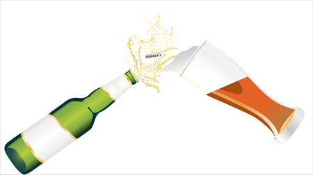 pouring: Beer is Pouring into glass Illustration
