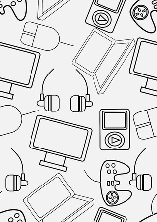palmtop: gadgets icons seamless pattern over social media background.