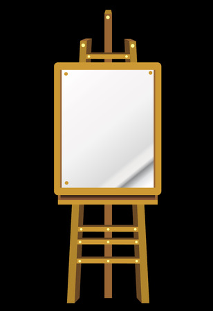 easel: Blank art board, wooden easel, front view, isolated on black