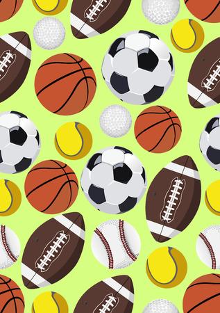 sports team: Balls, seamless pattern Illustration