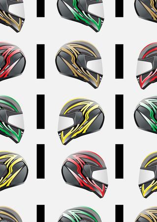 racecar: seamless pattern motorcycle helmet