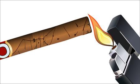 opulence: Cigar and lighter. Illustration