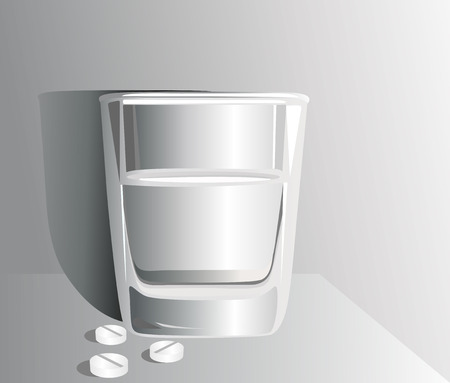 intoxication: Glass of water and pills Illustration
