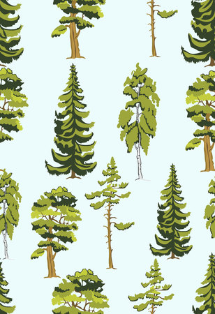evergreen tree: Cute seamless pattern with various trees