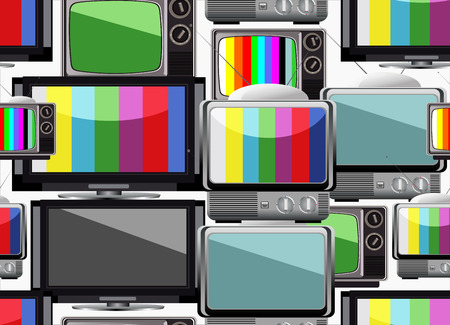 tv retro: Tv retro seamless pattern. Colorful abstract background.
