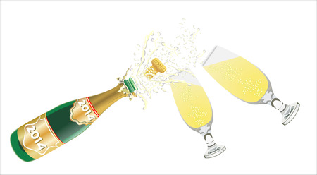 viewfinderchallenge1: Champagne pouring in two glasses on black Illustration