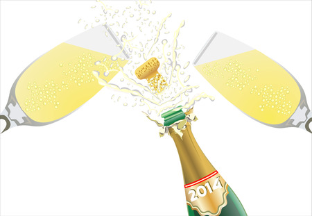 tempting: Champagne pouring in two glasses on black Illustration