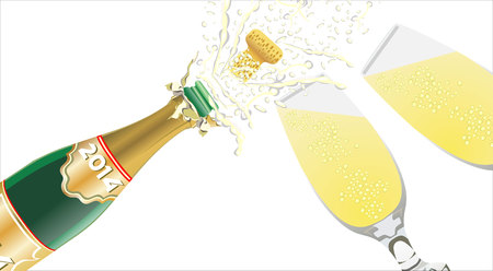 frothy: Champagne pouring in two glasses on black Illustration