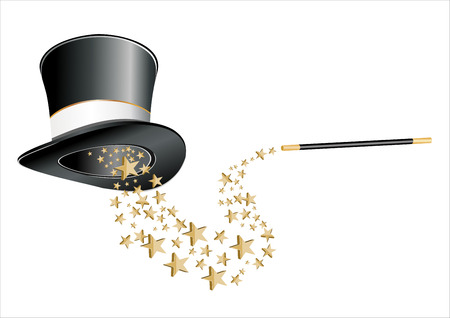 Magic hat and wand with stars. Illustration
