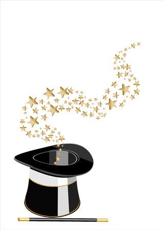 魔法の帽子と星の杖。  イラスト・ベクター素材